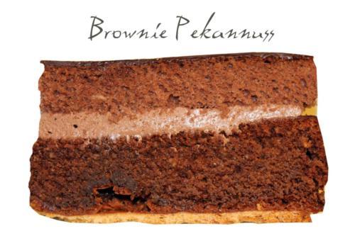 Brownie mit gerösteten Pekannüssen, Schoko- Philadelphia Creme und knusprigem Keksboden